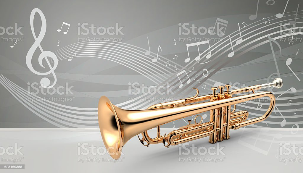 Trumpet banner, 3D illustration stock photo