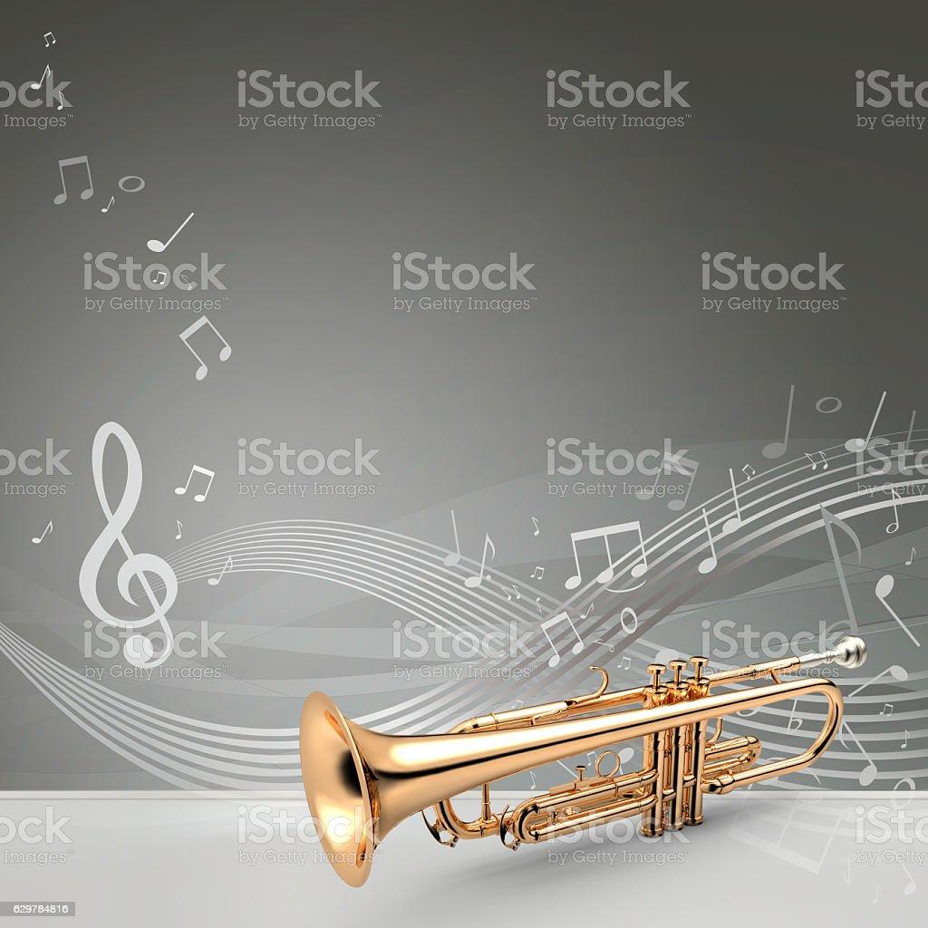 Trumpet banner, 3D illustration stock photo