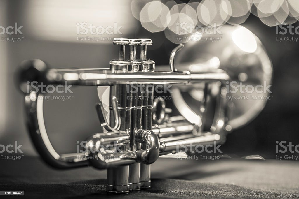Trumpet in a Jazz club stock photo