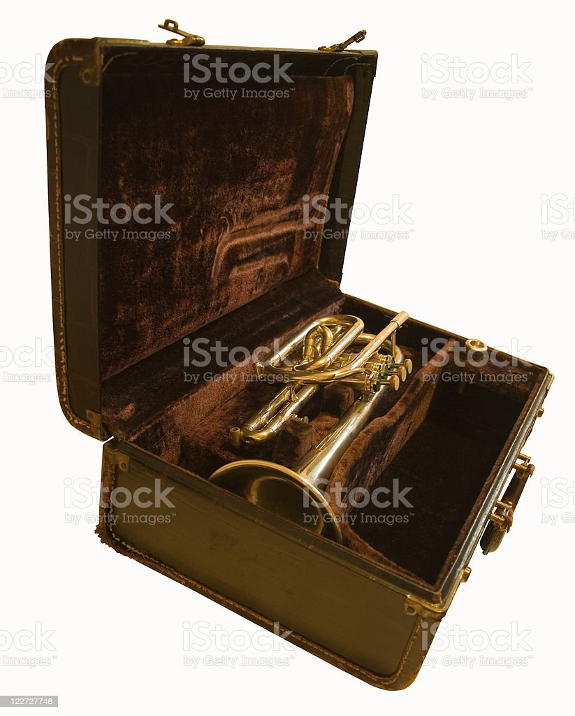 Trumpet in case (with path) royalty-free stock photo