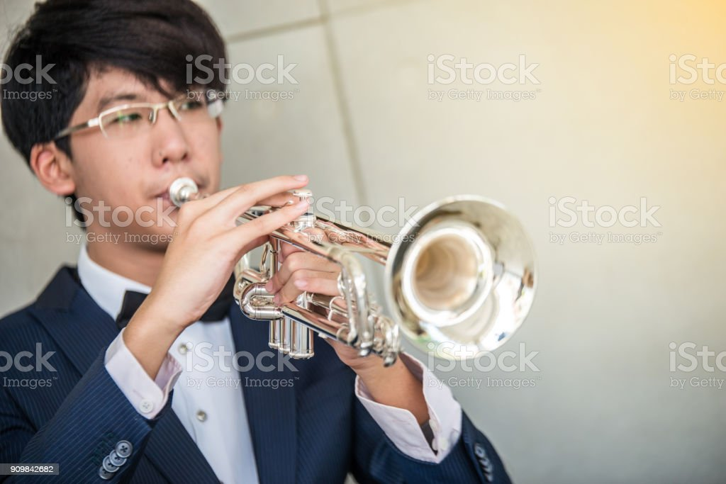 Trumpet instrument stock photo