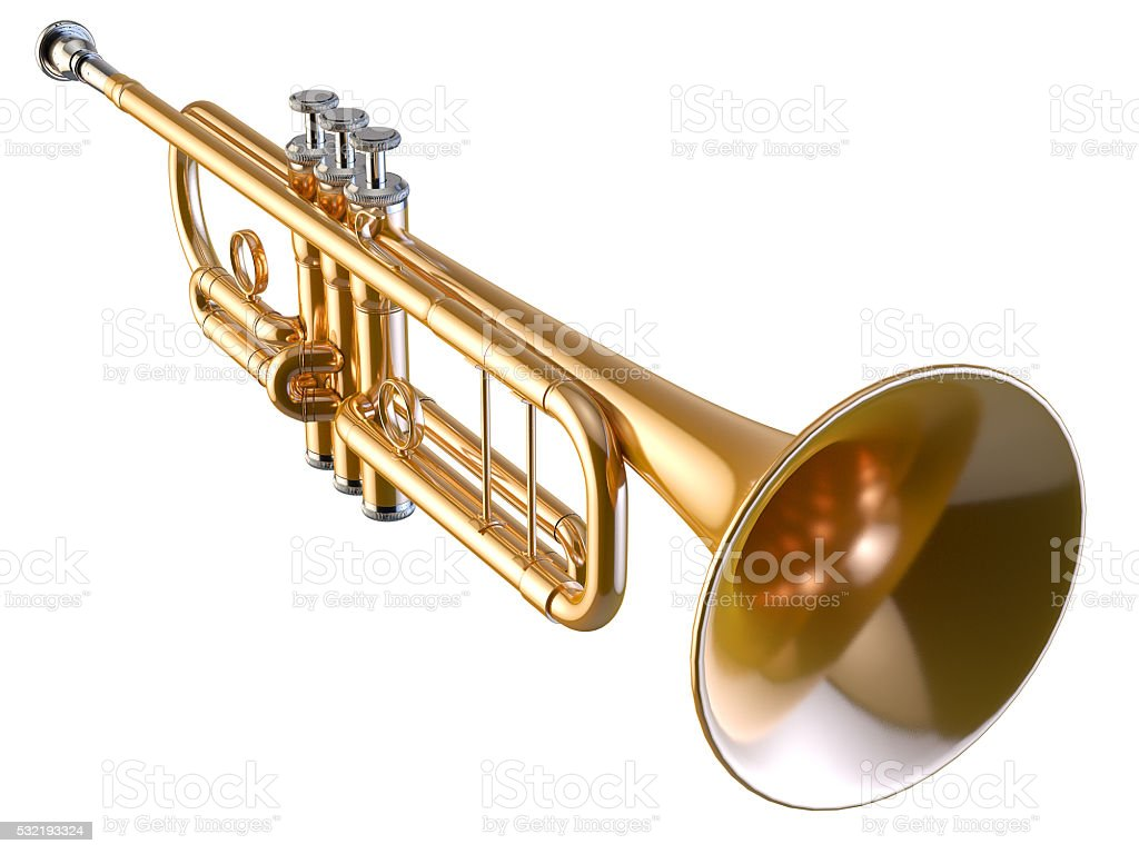 Trumpet isolated on white 3D rendering stock photo