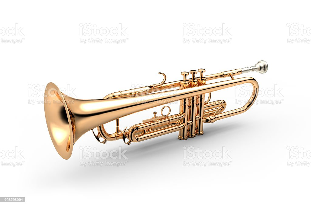 Trumpet isolated on white stock photo