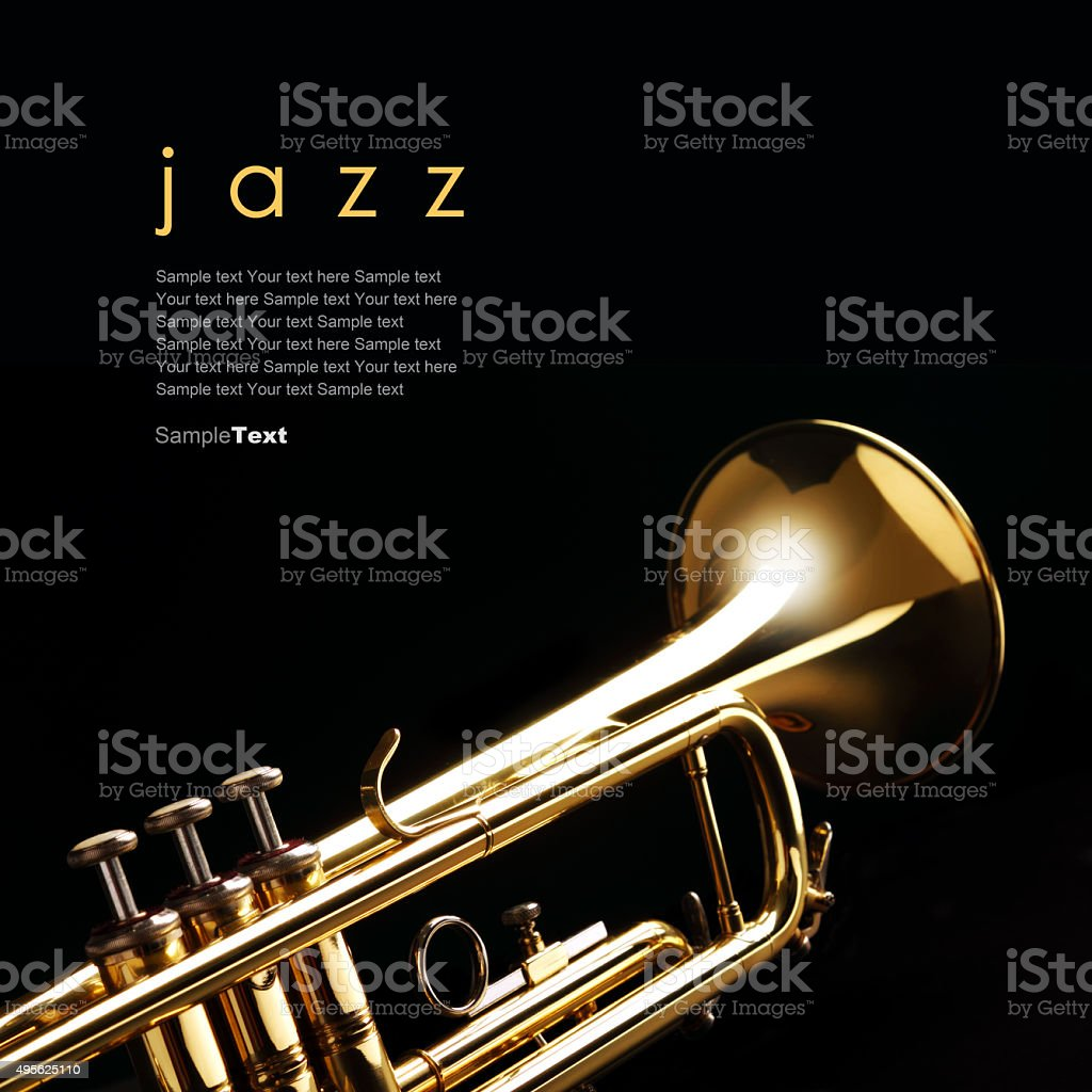 Trumpet on black background stock photo