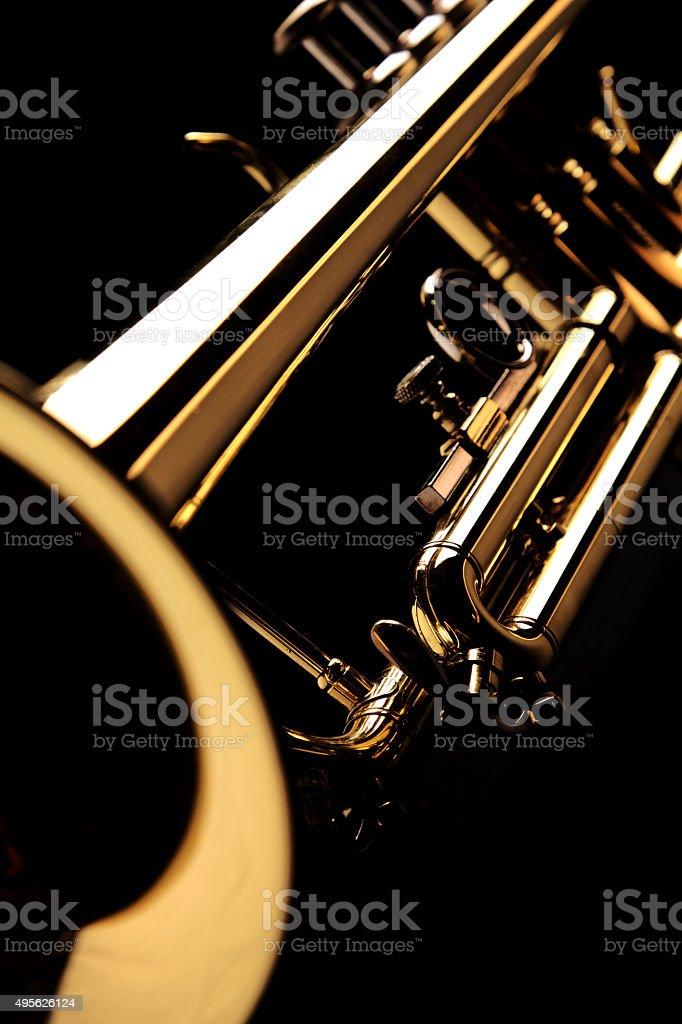 Trumpet on black background stock photo