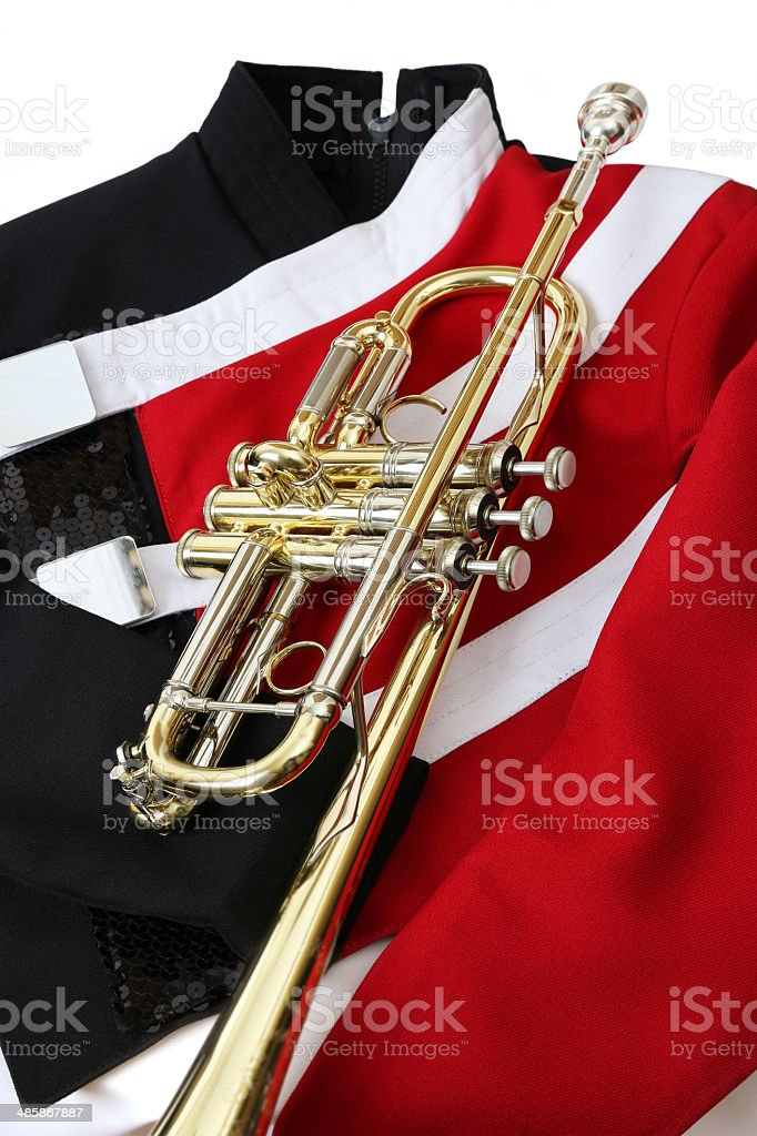 Trumpet on Marching Band Uniform stock photo