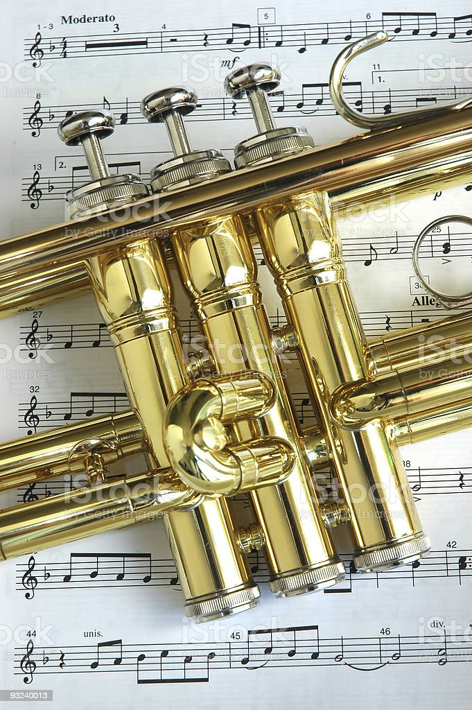 Trumpet On Musical Notes stock photo