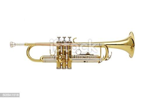 Trumpet on white background shooting sideways