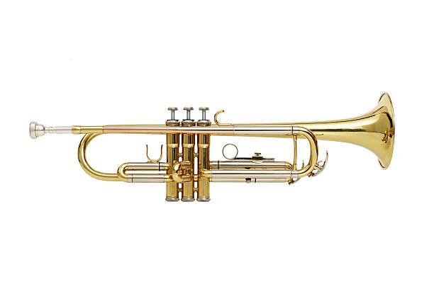 trompette sur fond blanc - instrument de musique photos et images de collection