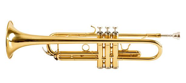 트럼펫 흰색 배경의 - 트럼펫 뉴스 사진 이미지