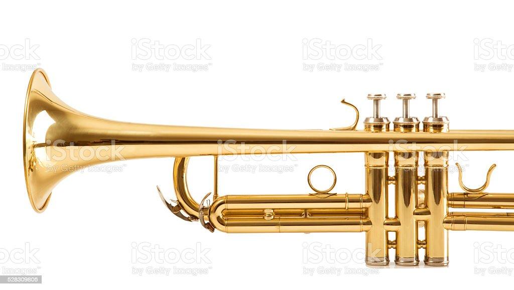 Trumpet on white background stock photo