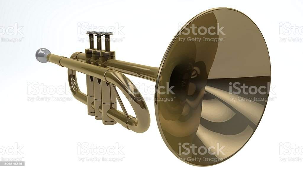 Trumpet on White Background - Stock Image stock photo