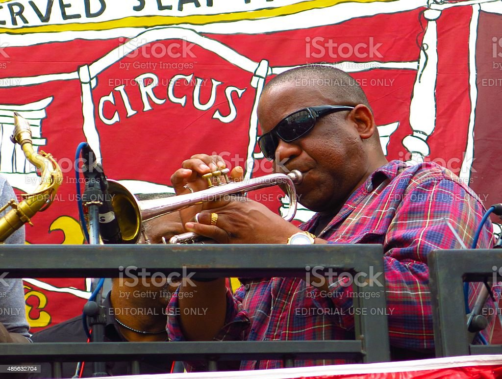 Trumpet player at Notting Hill Carnival in London, England stock photo