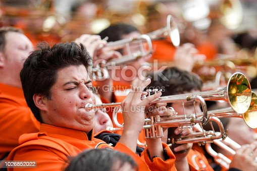 High school marching band at memorial day parade