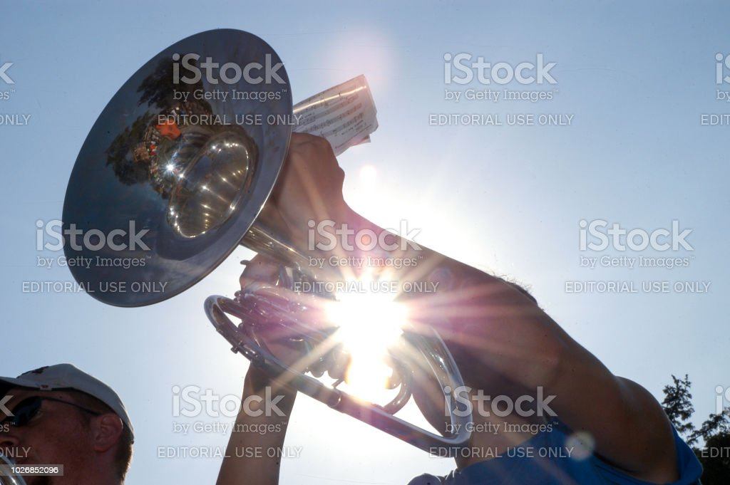 Trumpet Player During Marching Band Rehearsal On Field Stock Photo