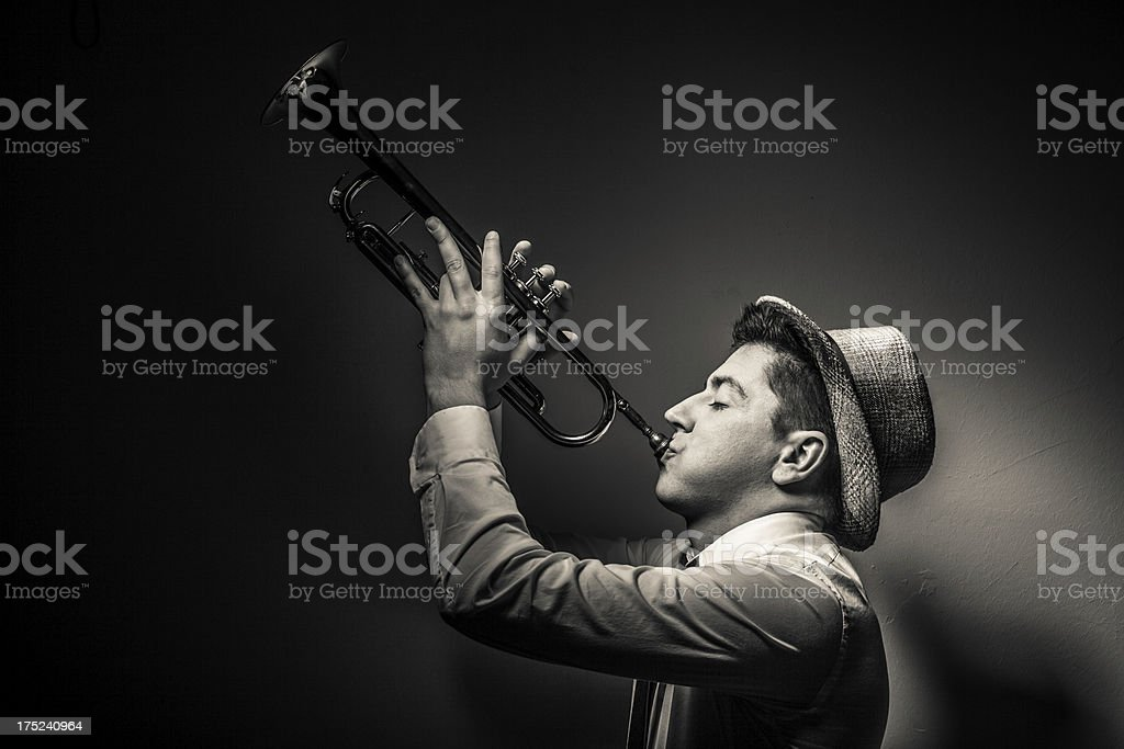 Trumpet player in a Jazz club stock photo