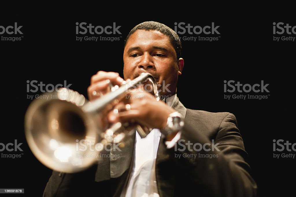 Trumpet player in orchestra royalty-free stock photo
