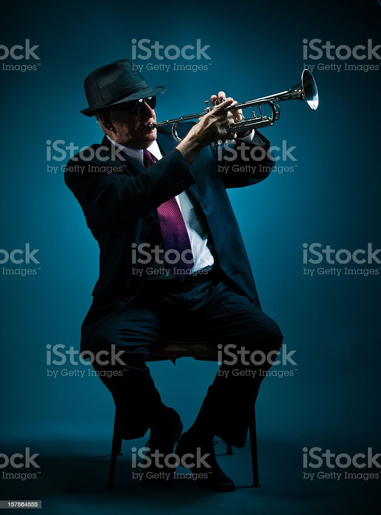 trumpet player performing a solo royalty-free stock photo