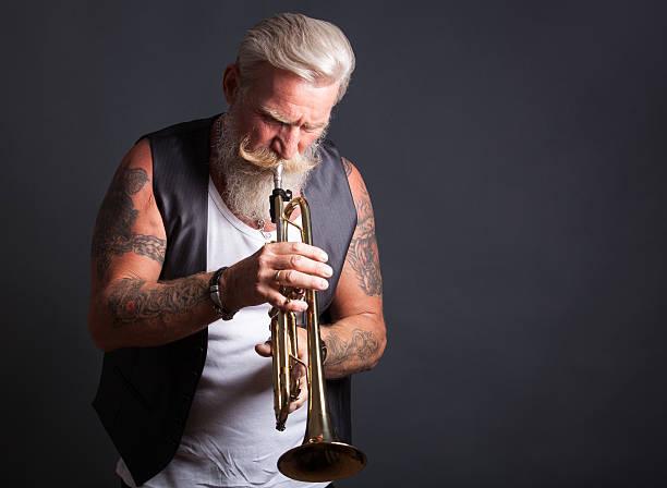 trompete-spieler - alte tattoos stock-fotos und bilder