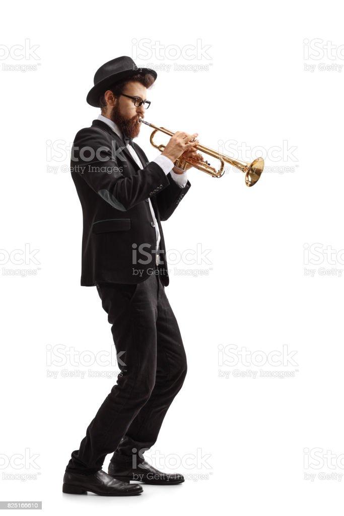 Trumpet player stock photo
