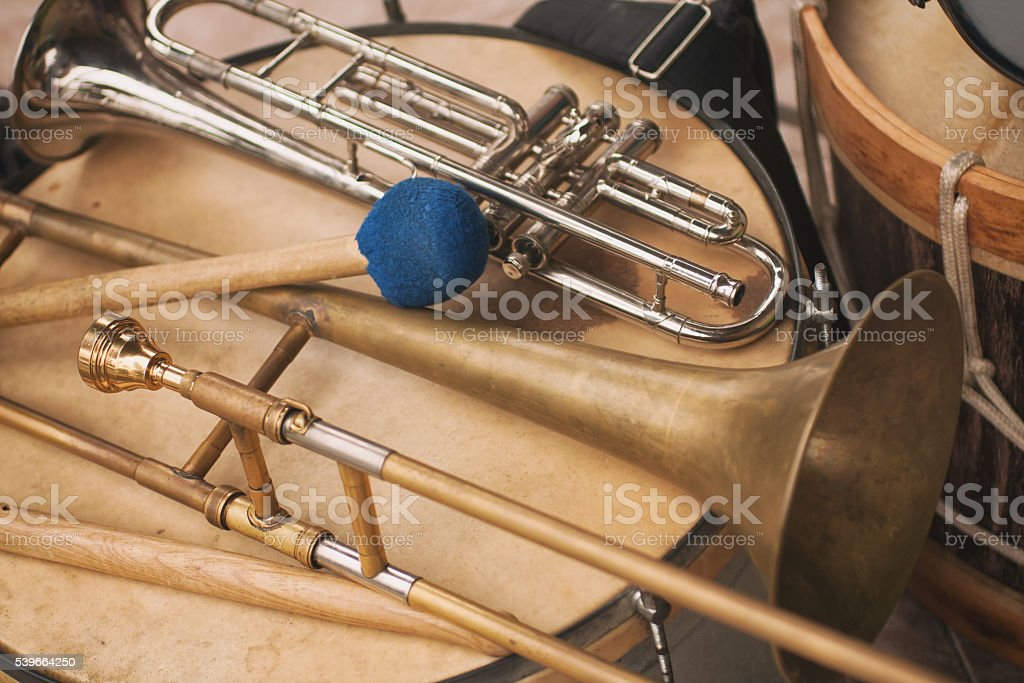 Trumpet, trombone and Bass drum stock photo