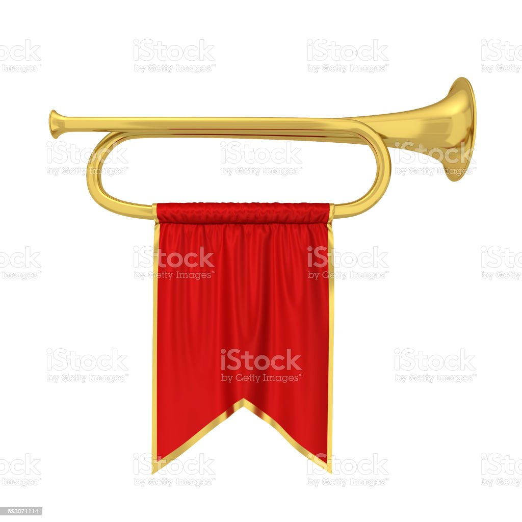Trumpet with banner stock photo