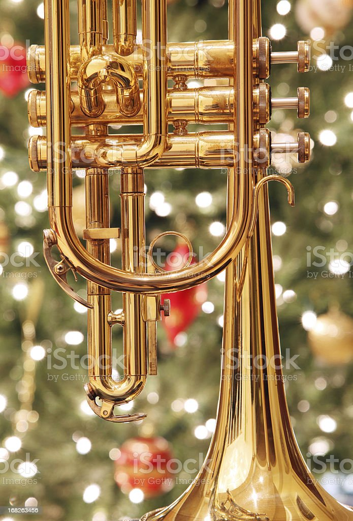 Trumpet with Christmas Background stock photo