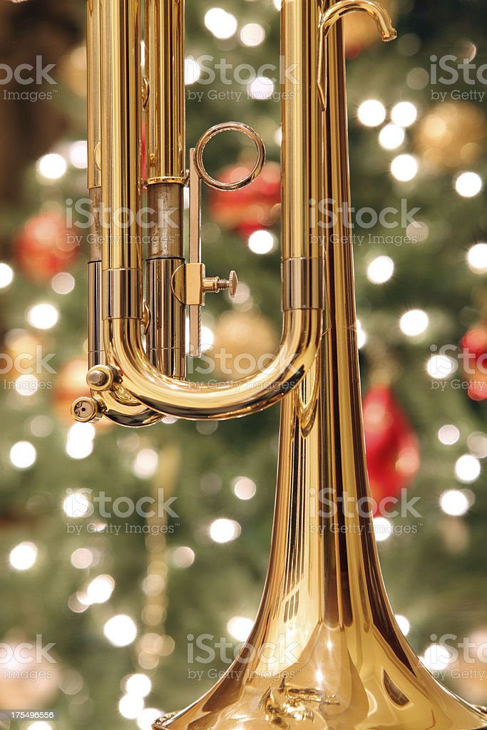 Christmas Trumpet Images.Trumpet With Christmas Background Stock Photo More