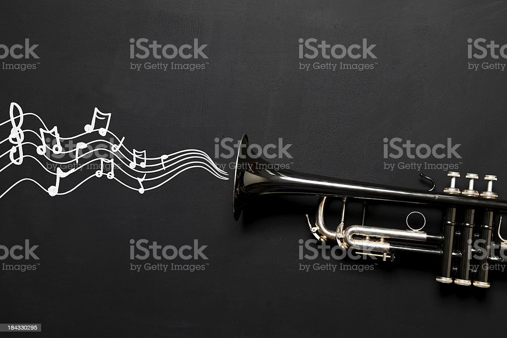 Trumpet with notes royalty-free stock photo