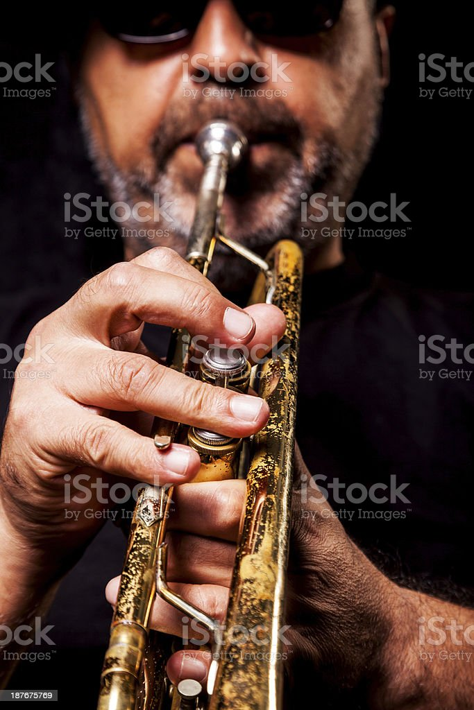 Trumpeter man royalty-free stock photo