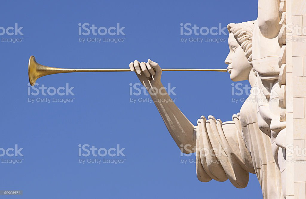 Trumpeting angel. stock photo