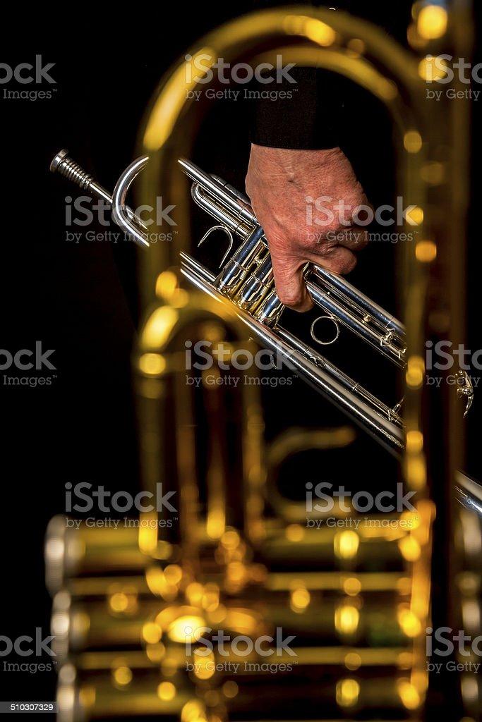 Trumpets closeup stock photo