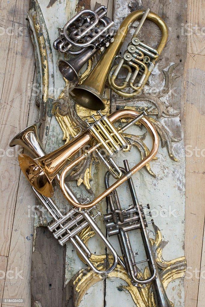 Trumpets stock photo