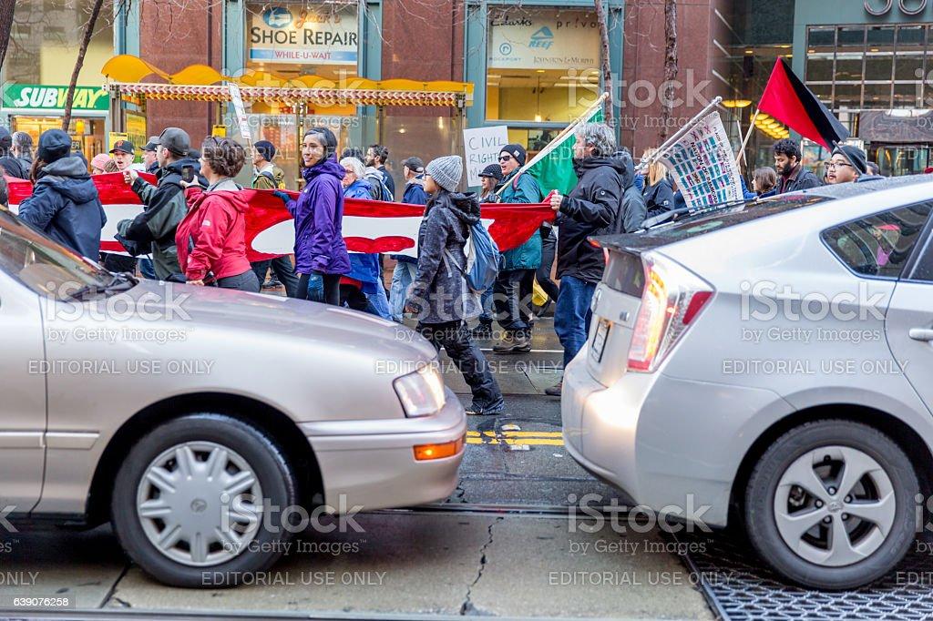 Trump-Innaugaration-Protest stock photo