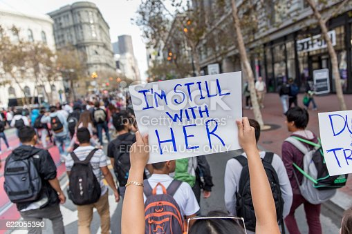 San Francisco, United States - November 10, 2016: Thousands of San Francisco high school students walking out of class and marching to protest Donald Trump winning the presidency.