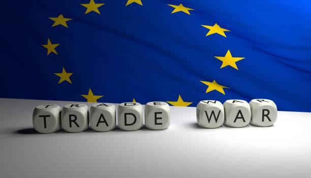 Trump's trade war USA vs EU stock photo