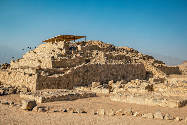 Truncated pyramid in Caral stock photo