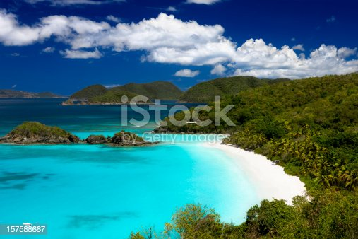 Trunk Bay beach in Saint John in the Virgin Islands in the Caribbean - one of the world's most beautiful beaches