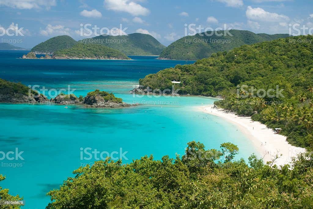 Trunk Bay on St John , United States Virgin Islands stock photo