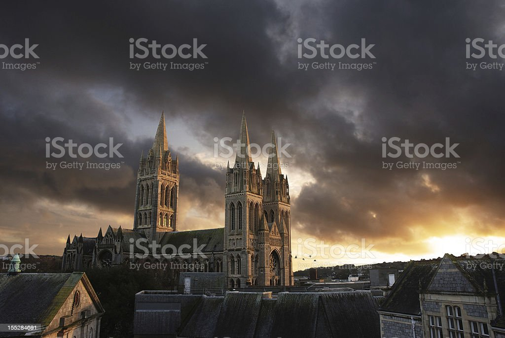 Truro cathedral at sunset stock photo