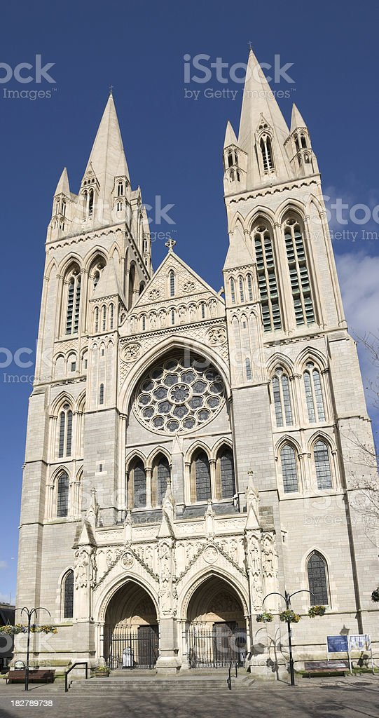 Truro Cathedral grand front entrance in Cornwall stock photo
