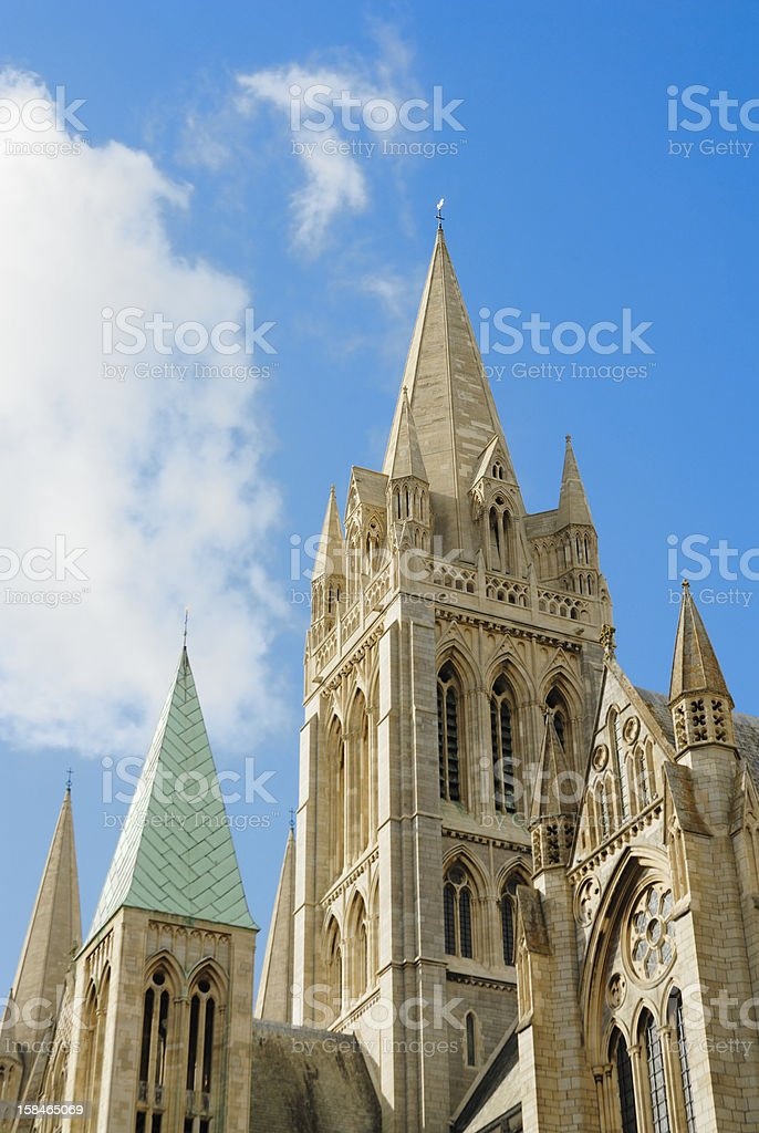 Truro Cathedral set agains a sunny blue sky. stock photo