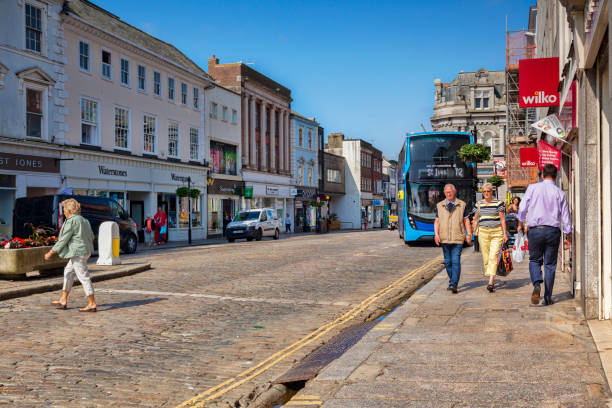 Truro, Cornwall, UK, Shops in the High Street, Boscawen Street stock photo