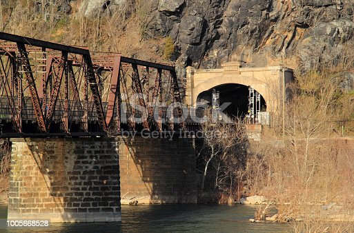 A truss bridge crosses the Potomac River and connects the historic town of Harpers Ferry, West Virginia, to Maryland Heights in the state of Maryland, Harpers Ferry National Historical Park