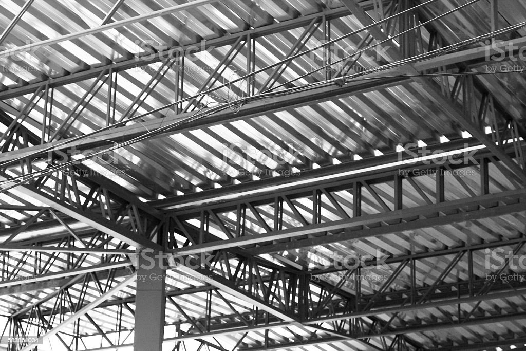 Truss ceiling structure stock photo