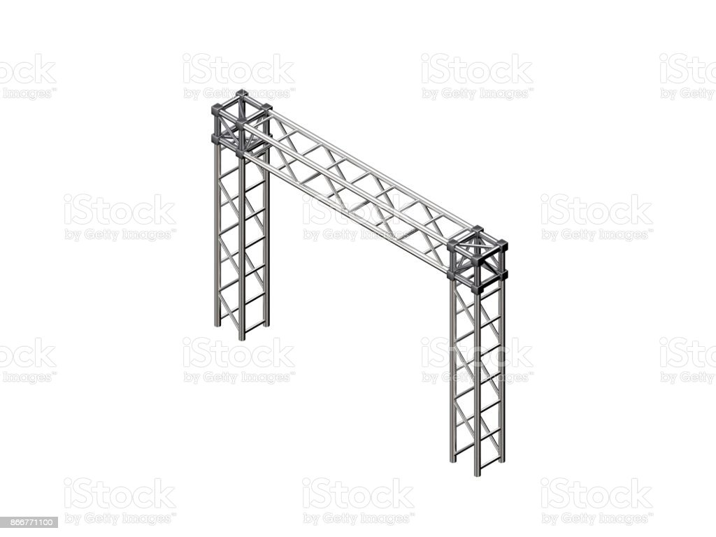 Truss construction. Isolated on white background. 3D rendering illustration. stock photo