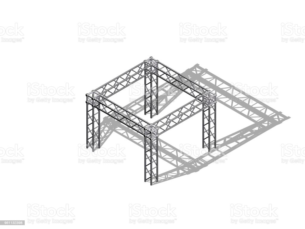 Truss Construction Isolated On White Background 3d Rendering Cantilever Bridge Diagram Related Keywords Illustration Royalty Free Stock