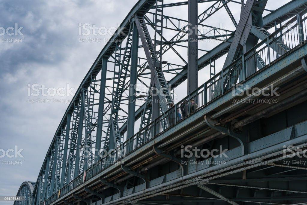 Truss road bridge over Vistula river in Torun, Poland. stock photo