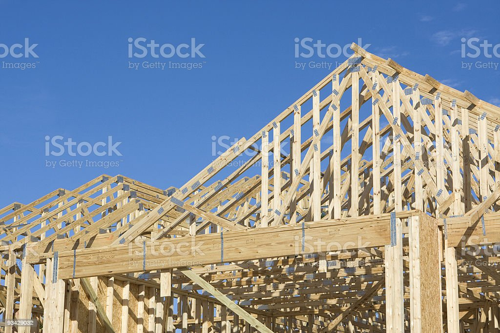 Truss Roof Construction stock photo