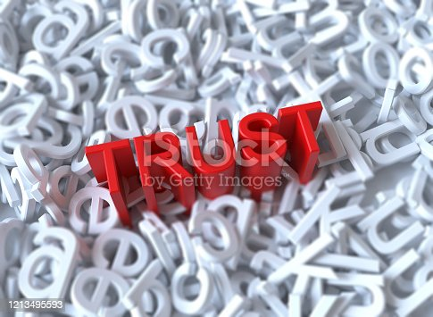 Trust 3d word concept in alphabet